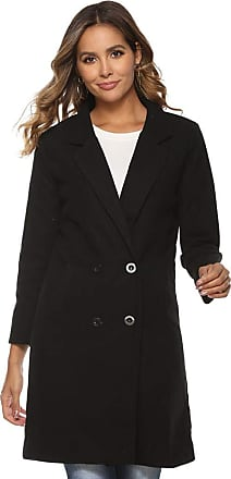 YYW Winter Classic Slim Long Jacket Wool Coats for Women Double Breasted Trench Coat (Black,XL)