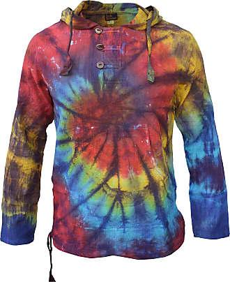 Gheri Tie Dye Cotton Light Summer Hippie Psychedelic Bohemian Grandad Hoodie Rainbow Front Spiral, XL, Rainbow Tie Dye Front Spiral