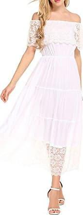 ae31c456b9abff Meaneor Damen Elegantes Spitzen Kleid Maxi Sommerkleider Etuikleid  Partykleider Abendkleid mit Spitze
