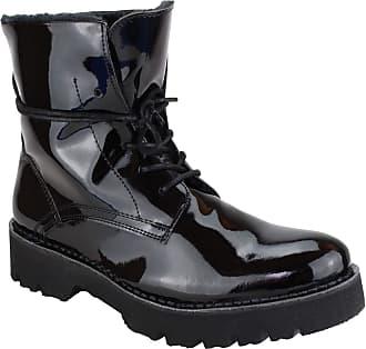67de0774b1b9b Buffalo Womens Stucco New Vernice 2015 Patent Lea/Fur Combat Boots, (Black  00