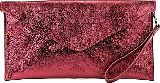 modamoda.de Modamoda de - ital. Leather Bag Clutch Underarm Bag Evening Bag Leather Metallic M106-151, Colour:M106 Dark Red Metallic