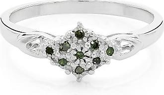 Juwelo Smaragdgrüner Diamant Ring Silber Diamant Schmuck Diamant Silber