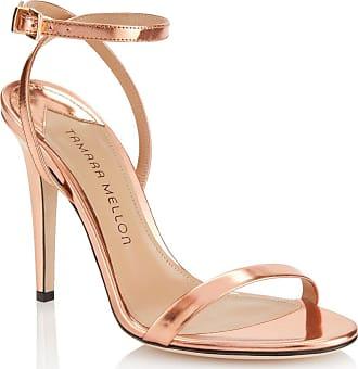 Tamara Mellon Reveal Rose Gold Specchio Sandals, Size - 35.5