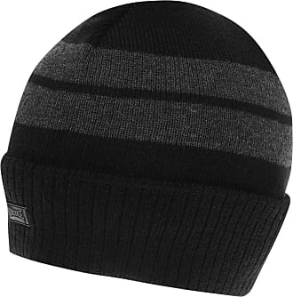 Lonsdale Mens Turn Up Beanie Hat Black One Size