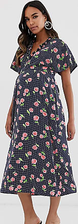 Queen Bee Maternity fluted sleeve midi dress in floral print-Multi