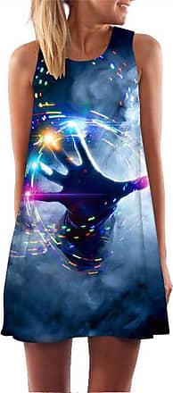Ocean Plus Womens Sleeveless Vintage Boho Beach Dress Sundress Tank Tops Beach Dress Round Neck Short A Line Shirt Dress Blouse Dress (XXL (UK 14-16), Magic Hand