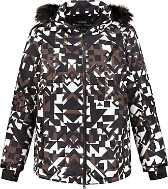 Ulla Popken Womens Plus Size Geometric Triple Function Ski Jacket Multi 32/34 719001 90-58+
