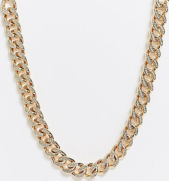Asos Curve ASOS DESIGN Curve necklace with iced crystal curb chain in gold tone