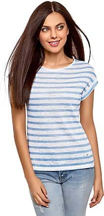 oodji Collection Womens Striped T-Shirt, White, UK 14 / EU 44 / XL