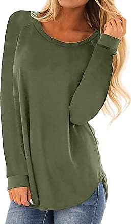 Kobay Womens Tops, Ladies Casual Round Neck Long Sleeve T-Shirt Loose Tunic Blouse Pullover Top Jumper Gifts for Women Green