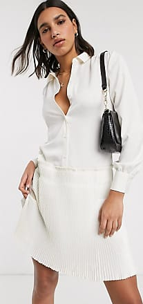 Y.A.S shirt dress with pleated hem in cream-White