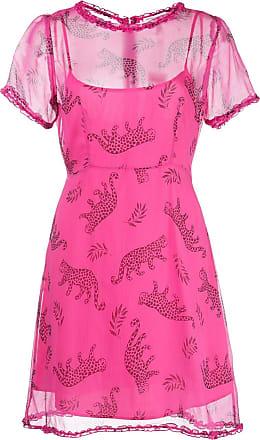 HVN Natalie leopard print mini dress - Rosa