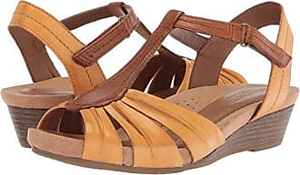 Cobb Hill Womens Hollywood Pleat T Sandal, Amber Yellow, 9.5 M US