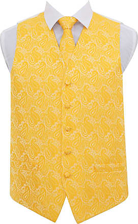 DQT Men Paisley Floral Wedding Waistcoat Neck Tie and Hanky Gold 48