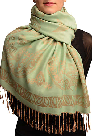 Liss Kiss Frames and Paisleys On Moss Green Pashmina Feel With Tassels - Green Pashmina Floral Scarf