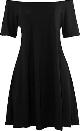 Be Jealous Womens Ladies Plain Off The Shoulder Bardot Short Sleeve Flared Swing Mini Dress Black