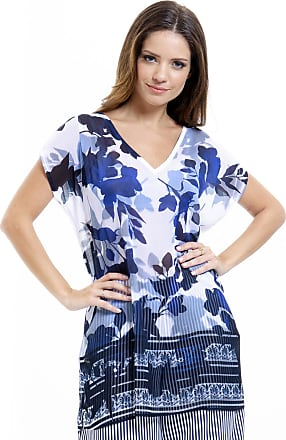 0ed82ffc0d 101 Resort Wear Blusa 101 Resort Wear Tunica Decote V Crepe Fendas Azul