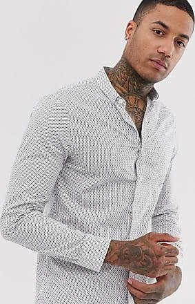 A|X Armani Exchange Kleingemustertes, langärmliges Hemd in Weiß mit Logo