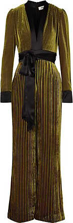 Diane Von Fürstenberg Satin-trimmed Striped Devoré-velvet Jumpsuit - Gold