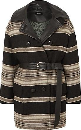 Isabel Marant Hilda Belted Striped Wool-blend Coat - Black