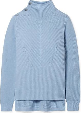 Veronica Beard Rama Ribbed Merino Wool And Cashmere-blend Turtleneck Sweater - Sky blue
