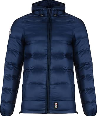 Crosshatch Mens Padded Hooded Rabble Puffer Jacket Iris Blue Blue