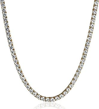 Amazon Collection Yellow-Gold Plated Sterling Silver Tennis Necklace set with Round Cut Swarovski Zirconia (4 mm), 17
