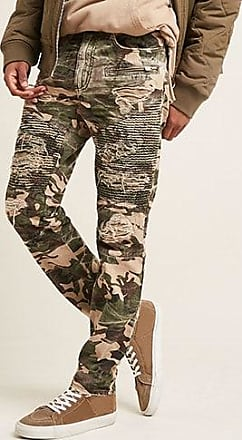 21 Men Jordan Craig Distressed Camo Moto Jeans at Forever 21 Olive/tan
