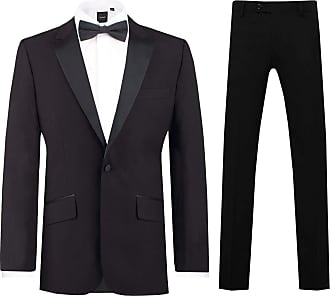 Dobell Mens Black 2 Piece Tuxedo Slim Fit Peak Lapel Evening Dinner Suit (34R Jacket with 28R Trousers)