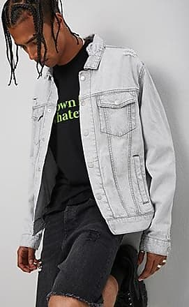 21 Men Distressed Denim Jacket at Forever 21 Light Grey