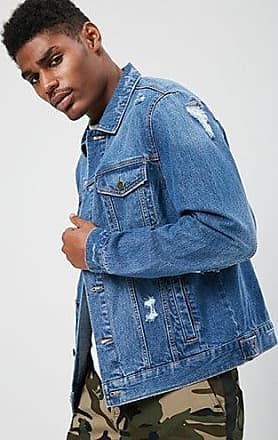 21 Men Distressed Denim Jacket at Forever 21 Dark Denim
