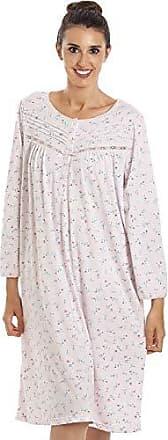 Camille Damen Nachthemd aus Fleece Grau Kariert Knopfleiste vorn