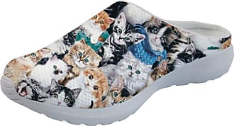 Coloranimal Memory Foam Garden Clogs for Women Ladies Air Cushion Lightweight Open Back Sandals Kawaii Animal Pet Cat Puzzle Slippers