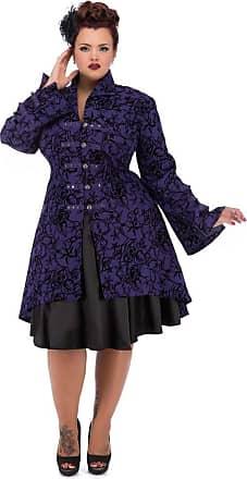 Women/'s Rockabilly Pinup Vintage Retro Military Purple Tattoo Coat Jacket