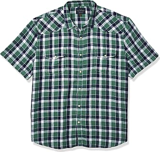 Lucky Brand Mens Short Sleeve Button Up Two Pocket Santa Fe Western Shirt, Green Plaid, XL