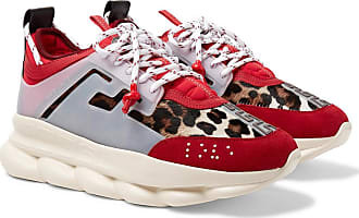 Versace Chain Reaction Panelled Calf Hair, Rubber And Suede Sneakers - Red