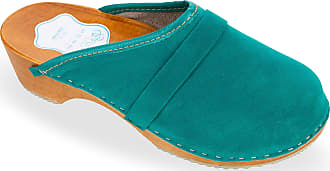 FUTURO FASHION Womens Suede Clogs 100% Natural Leather Hand Made Shoes Wooden Sole 3-8 UK D1 Aqua