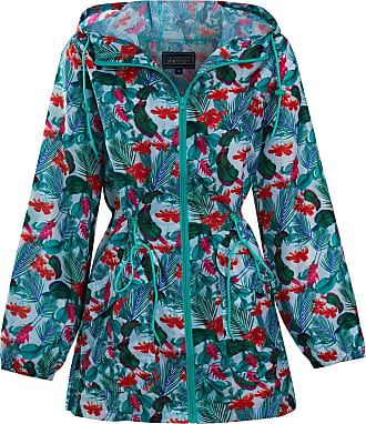 Shelikes Womens Ladies Showerproof Lightweight Festival Fashion Print Hooded Raincoat [Tropical Jungle X-Large (UK 16/18)]