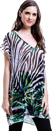 101 Resort Wear Blusa Tunica Decote V Crepe Fenda Lateral Estampada Zebra Folhas