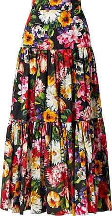 03a3f7de5a Dolce & Gabbana Tiered Ruffled Floral-print Cotton-poplin Maxi Skirt - Black
