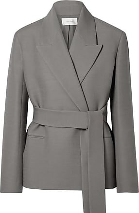 The Row Jenia Belted Wool And Silk-blend Jacket - Gray