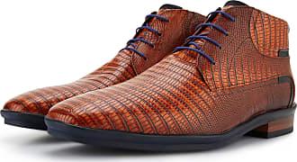 efa2983ef0db Floris Van Bommel Cognacbraune Herren Leder Schnürstiefel mit Eidechsen  Aufdruck, Business Schuhe, Lederstiefel,