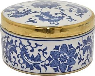 Three Hands Blue Round Covered Ceramic Box
