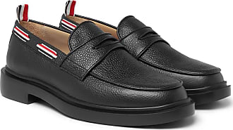 Thom Browne Grosgrain-trimmed Pebble-grain Leather Penny Loafers - Black