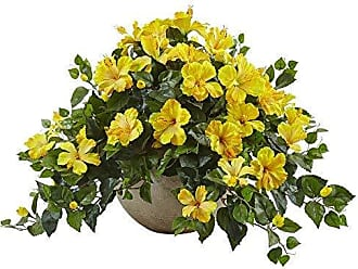 Nearly Natural Hibiscus Flowering Artificial Plant in Bowl, Yellow