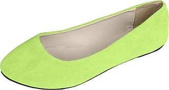 Vdual Women Ladies Slip On Flat Comfort Walking Ballerina Shoes Size UK 2.5-8 Yellow Green