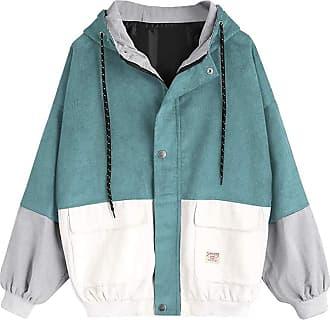junkai Women Long Sleeve Sweatshirt Corduroy Patchwork Oversized Jacket Coat Zip Sweatshirt Tops Light Blue S