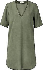 YaYa Lyocell Midi Kleid mit Doppelkragen - 36 | Lyocell | Dark Olive