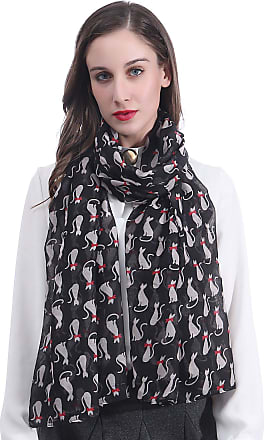 Lina & Lily Cat Print Womens Scarf Lightweight (Black)