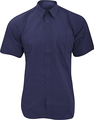 Fruit Of The Loom Mens Short Sleeve Poplin Shirt (3XL) (Navy)